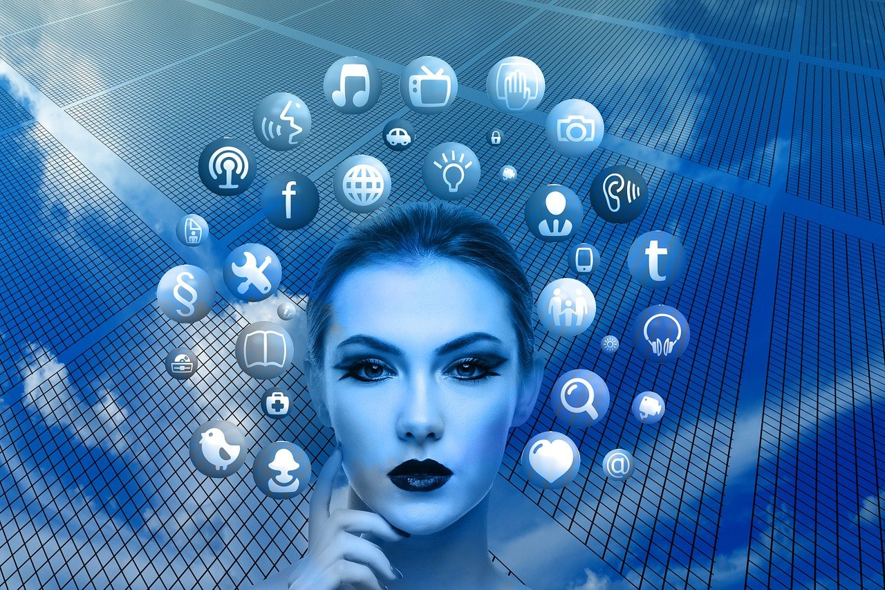 woman face and social Icons